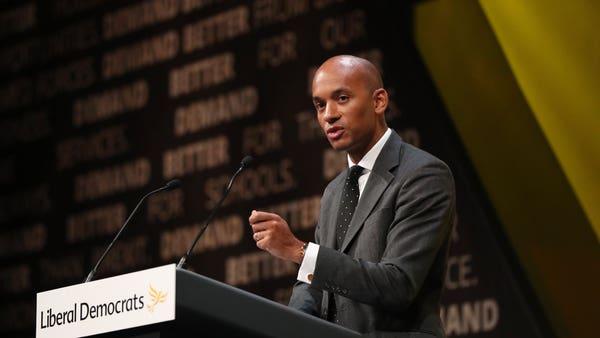 Ex-Labour MP Chuka Umunna preparing to attack Jeremy Corbyn from Lib Dem stage