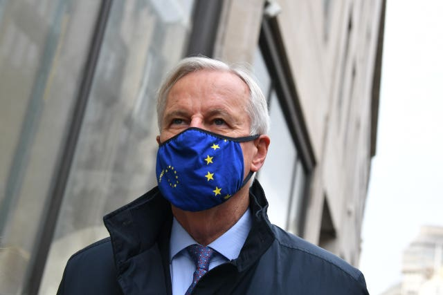 Michel Barnier arriving for talks in London
