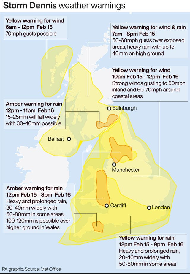 Storm Dennis weather warnings