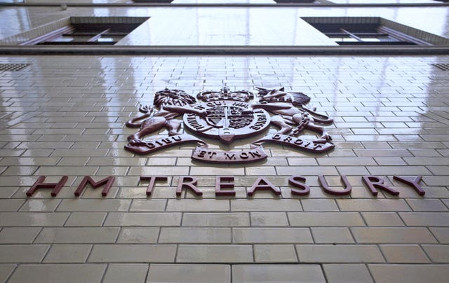 A sign for Her Majesty's Treasury (Chris Ratcliffe/PA)