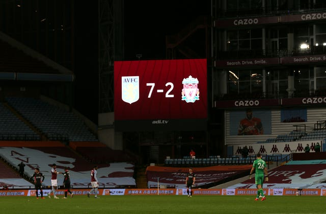 The scoreboard shows Aston Villa's 7-2 win over Liverpool