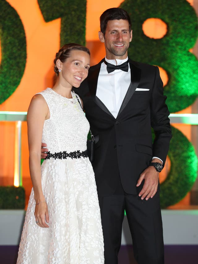 Novak Djokovic and wife Jelena arrive at the Champions' Dinner at the Guildhall