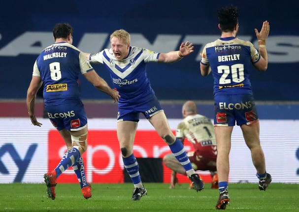 James Graham, centre, celebrates St Helens winning the Betfred Super League Grand Final in dramatic fashion