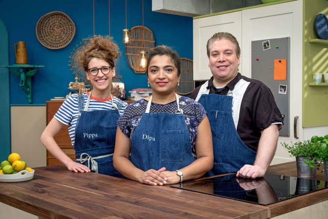 Pippa Middlehust (left) alongside fellow finalists, Dipa and Philip.
