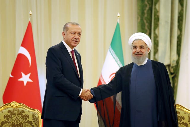 Recep Tayyip Erdogan with Hassan Rouhani in Tehran
