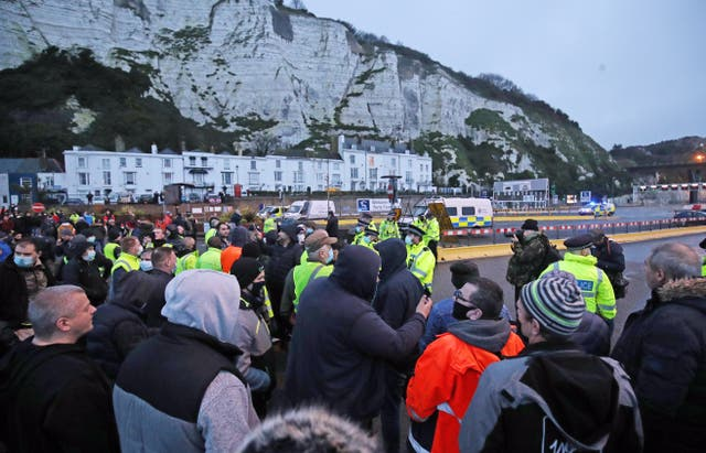Police hold back drivers trying to enter the Port of Dover in Kent (Steve Parsons/PA)