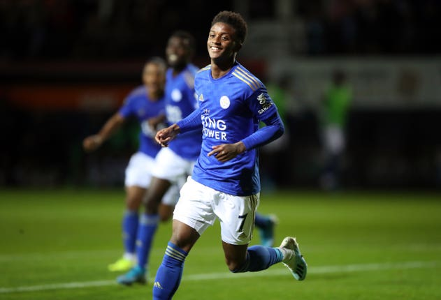 Demarai Gray scored his first goal of the season as Leicester beat Luton
