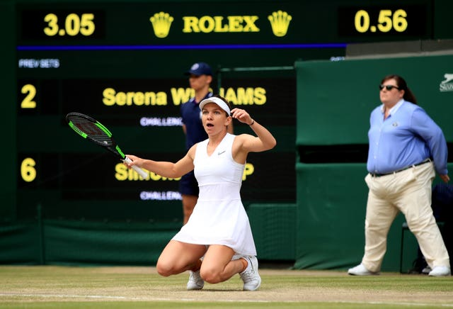 Simona Halep, pictured, falls to the turf after beating Serena Williams