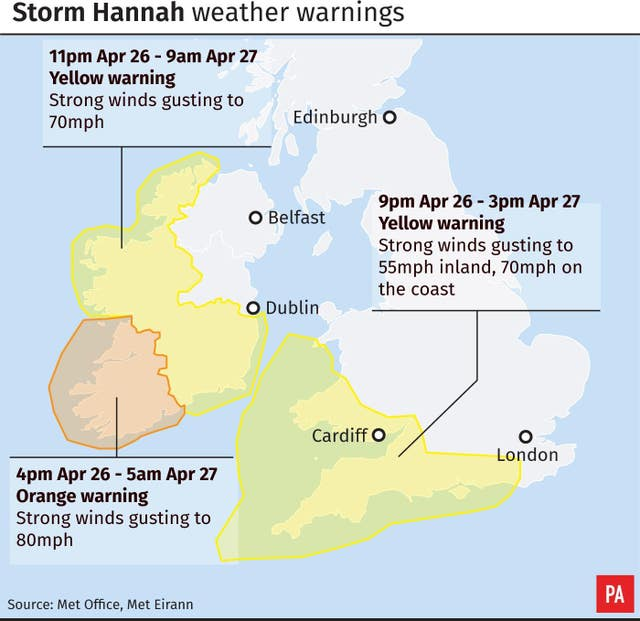 Storm Hannah weather warnings