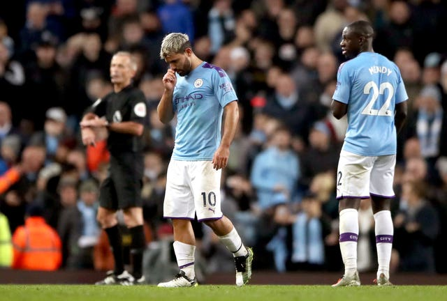 Manchester City's Sergio Aguero (centre) has not played since the win over Chelsea last month due to a thigh injury