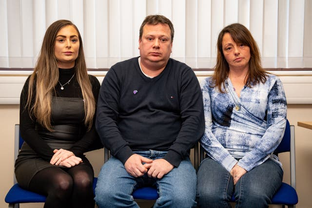 Leah Croucher's sister Jade, father John and mother Claire
