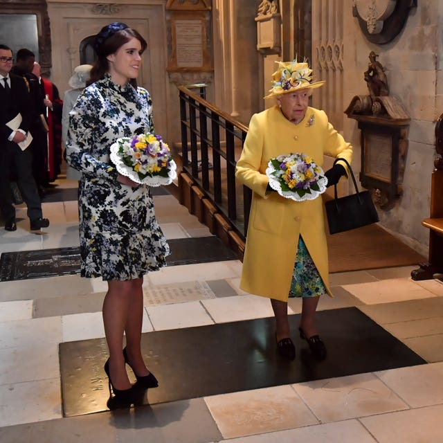 The Queen with Princess Eugenie leaving St George's Chapel in Windsor after the annual Royal Maundy Service