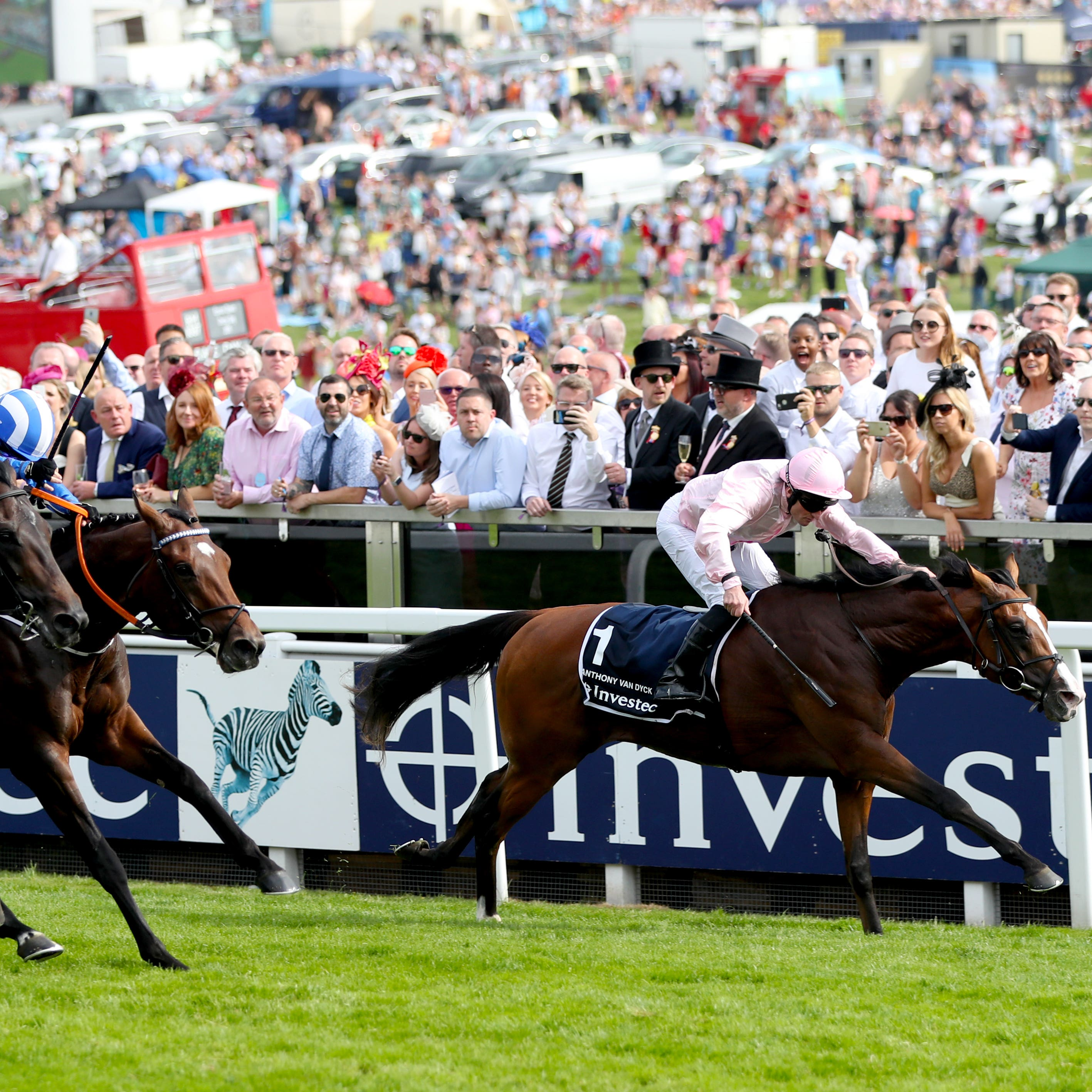 Anthony Van Dyck prevailed in a blanket finish at Epsom