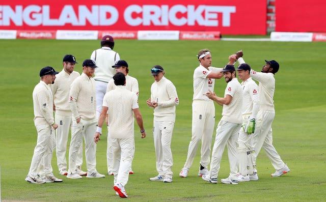 England's Stuart Broad celebrates taking the key wicket of West Indies' Kraigg Brathwaite