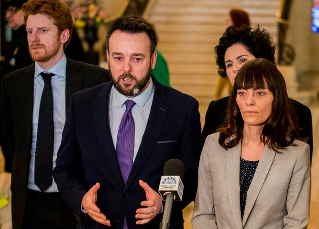 SDLP leader Colum Eastwood with party colleagues at Stormont
