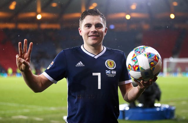 James Forrest hit a hat-trick when Scotland beat Israel in 2018