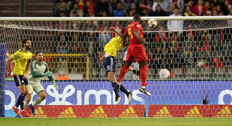 Romelu Lukaku scored the opener against Scotland in Brussels