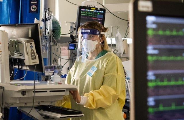 A nurse monitors the progress of patients on a computer