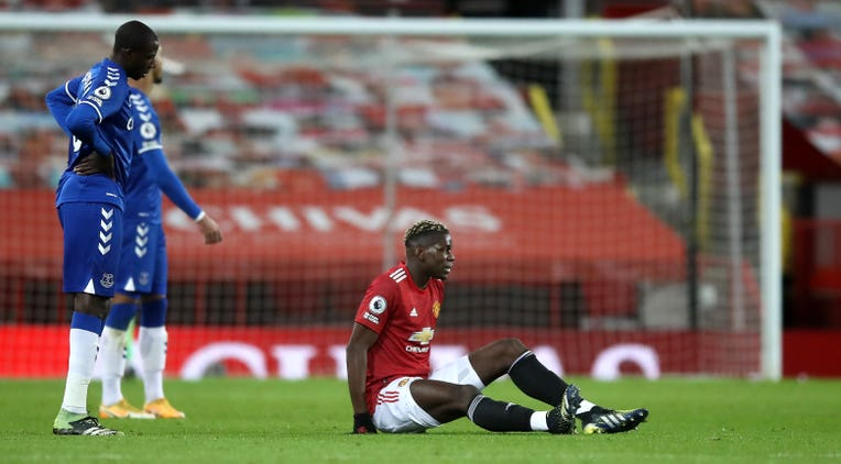 Paul Pogba was forced off with a thigh issue in the first half