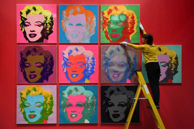 Warhol's screen prints at 2017 British Museum exhibition The American Dream: Pop to the Present (Victoria Jones/PA)
