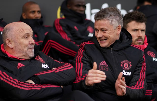 Ole Gunnar Solskjaer, right, made it 10 wins from 11 matches since taking over as Manchester United interim manager against Fulham