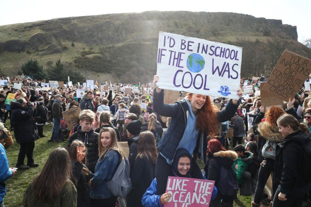 Students in Edinburgh are taking part in the global school strike for climate action (Jane Barlow/PA)
