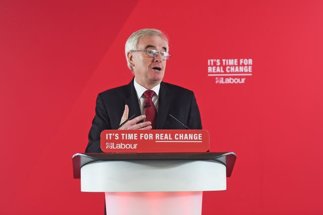 Shadow chancellor John McDonnell gives a speech on the economy in central London