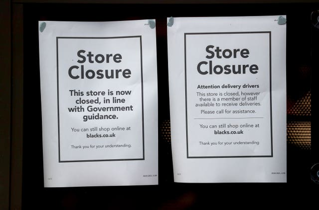 A closed store in Worcester (David Davies/PA)