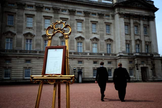 An easel was placed in the Forecourt of Buckingham Palace in London to announce the birth of Princess Charlotte in 2015. (Steve Parson/PA)