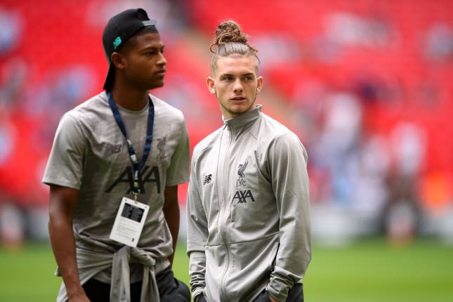 Harvey Elliott, right, is one of just two signings made by Liverpool so far
