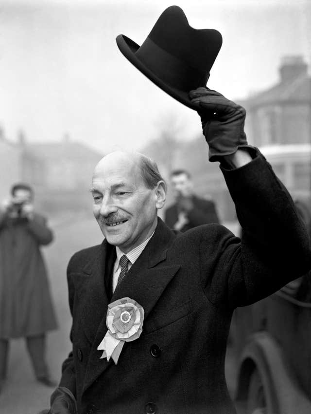 Prime Minister Clement Attlee in 1950 during the General Election campaign (PA)