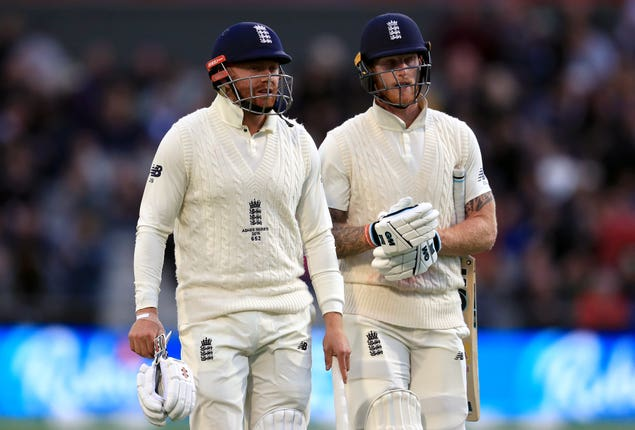 Jonny Bairstow (left) and Ben Stokes (right) will resume England's challenge on Saturday