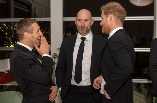 Jonny Wilkinson, Lawrence Dallaglio and the Duke of Sussex share a joke