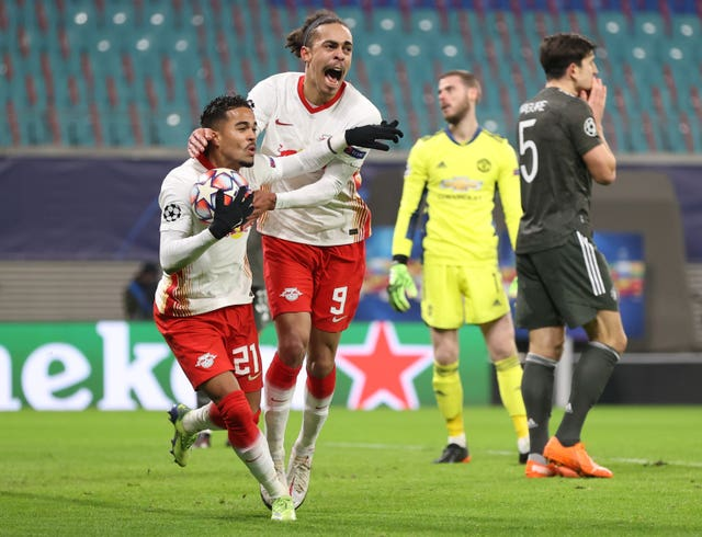 Leipzig celebrated a memorable victory over Manchester United in the group stage