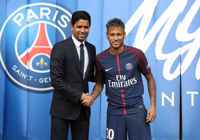 Al Khelaifi, left, with Neymar, will have a big say on whether and how the rebel clubs are readmitted to the ECA