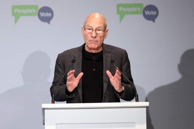 Sir Patrick Stewart backs the People's Vote campaign