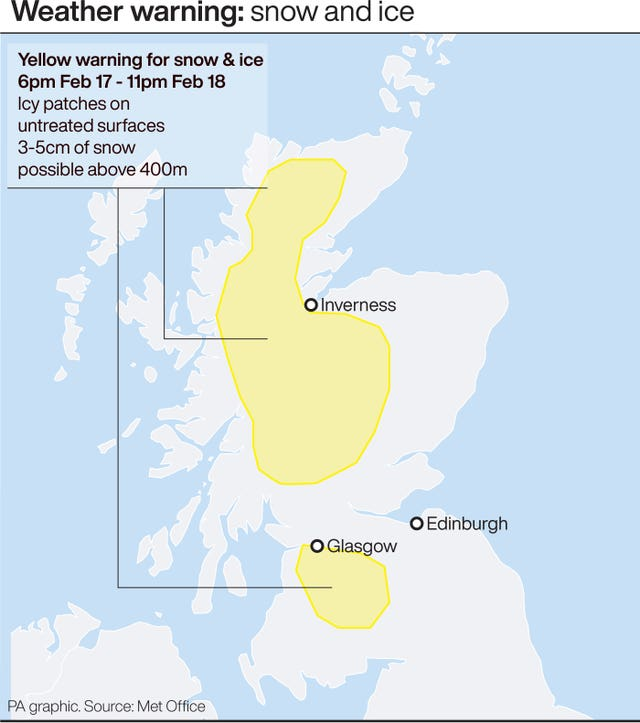 Weather warnings February 17-18.