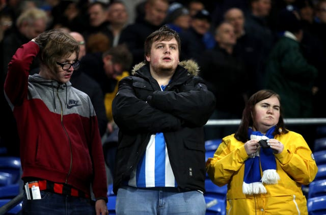 Both sets of fans were left dejected after missing out on three points