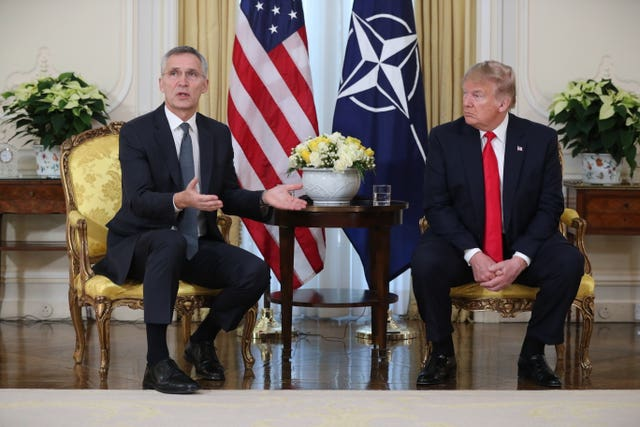 Nato secretary general Jens Stoltenberg and US President Donald Trump at Winfield House