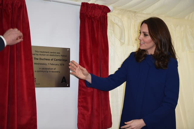 The Duchess of Cambridge opened the Action on Addiction treatment centre in Wickford, Essex (Eddie Mulholland/Daily Telegraph/PA)