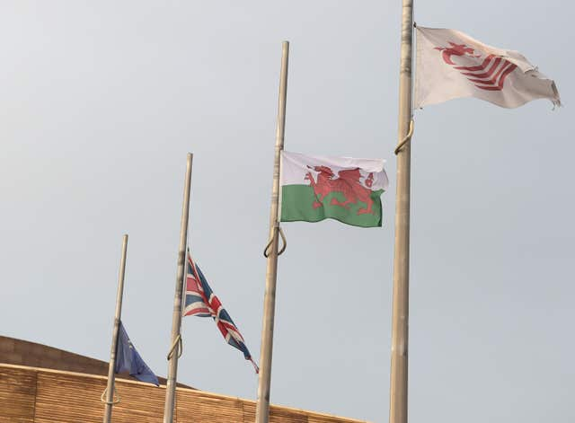 Flags flew at half mast above the Senedd, the National Assembly for Wales building in Cardiff Bay, following the death of former Welsh government minister Carl Sargeant. (Ben Birchall/PA)