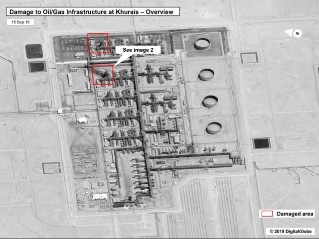 Damage to the infrastructure at Saudi Aramco's Khurais oil field in Buqyaq