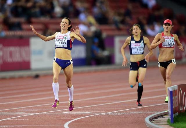 Jo Pavey, left, won gold at the European Championships in 2014 at the age of 40