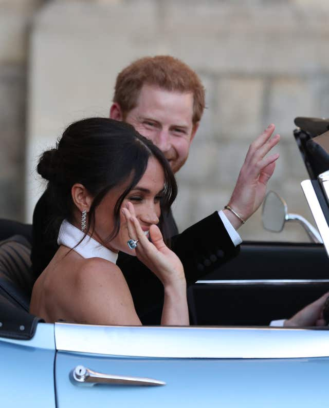 Meghan's hair was described as a 'messy bun' (Steve Parsons/PA)
