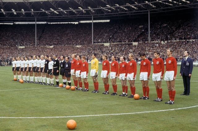 England, with Banks wearing yellow, and West Germany line up ahead of the 1966 World Cup final