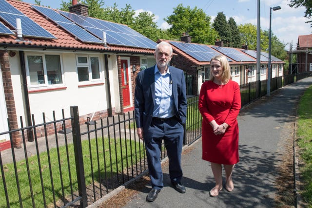 Labour leader Jeremy Corbyn and shadow business secretary Rebecca Long Bailey during a visit to Salford
