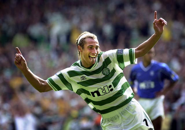 Henrik Larsson celebrates after scoring the fifth goal for Celtic against Rangers