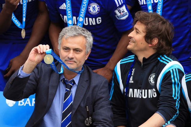 Jose Mourinho, left, and assistant Rui Faria celebrate winning the Premier League