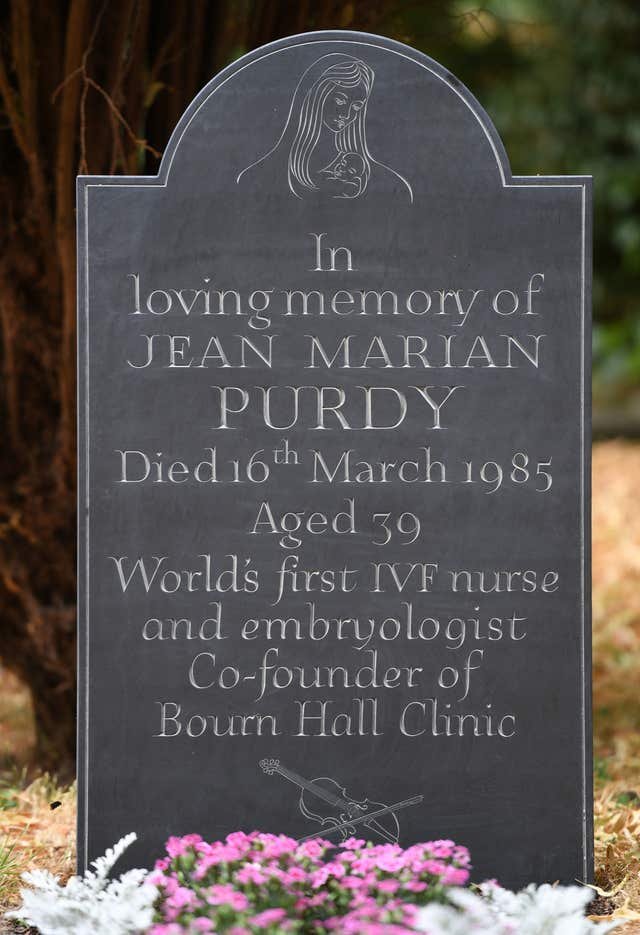 The newly unveiled headstone at the grave of Jean Purdy