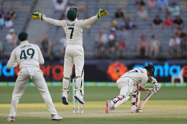 Australia's Tim Paine reacts to a near miss from New Zealand's BJ Watling during the Test match in Perth